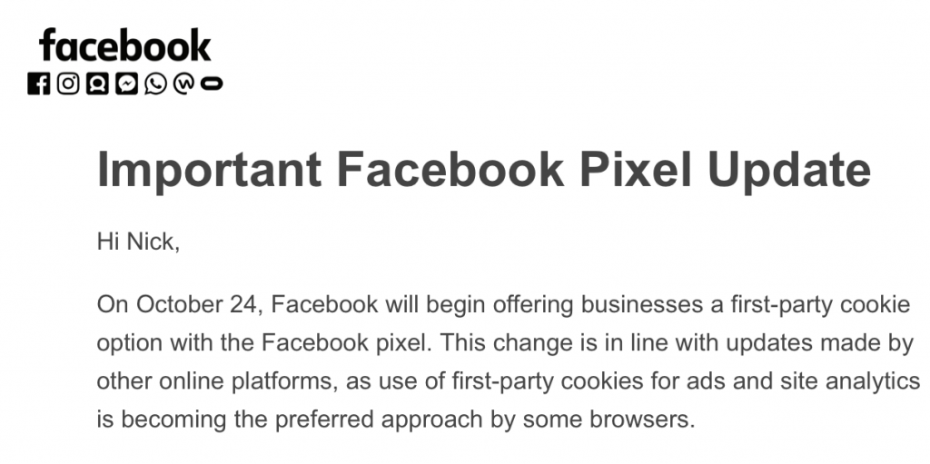Important Facebook Pixel Update Email
